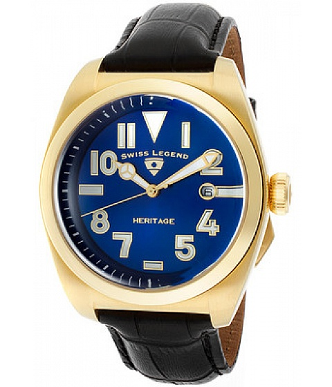 Ceasuri Swiss Legend - Swiss Legend Watch 20434-yg-03 Mens Heritage Blue Dial Gold Tone Ip Case Black - Multicolor