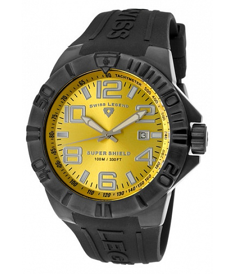 Ceasuri Swiss Legend - Swiss Legend Watch 40117-bb-07 Mens Super Shield Yellow Dial Black Ip Ss Case - Multicolor