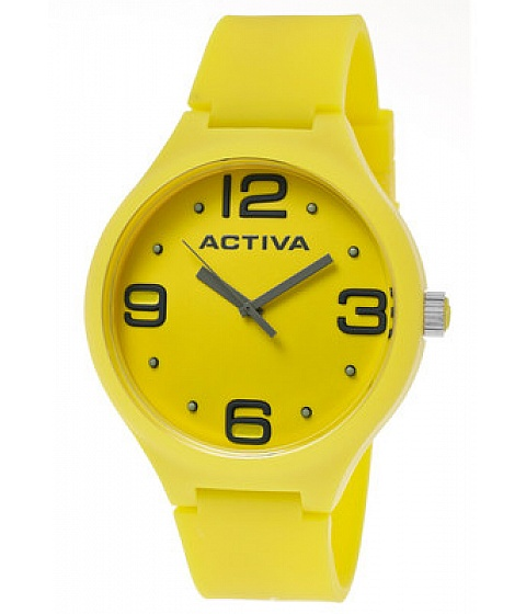 Ceasuri Activa - Activa Watch Aa100-005 Mens Yellow Dial Yellow Polyurethane - Multicolor