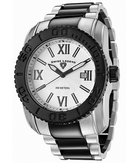 Ceasuri Swiss Legend - Swiss Legend 10059-sb-22 Mens Commander White Dial Two Tone Stainless Steel - Multicolor