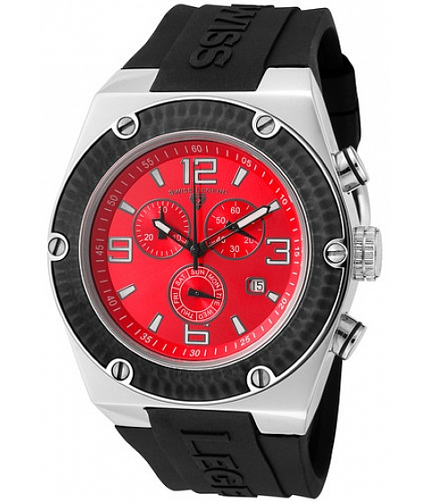 Ceasuri Swiss Legend - Swiss Legend Watch 30025-05-bb Mens Throttle Chronograph Red Dial Black Bezel - Multicolor
