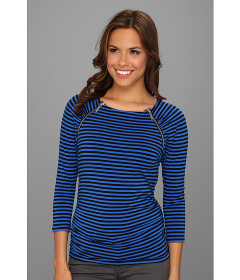 Bluze MICHAEL Michael Kors - 3/4 Sleeve Shirred Zip Top - Blue Jay