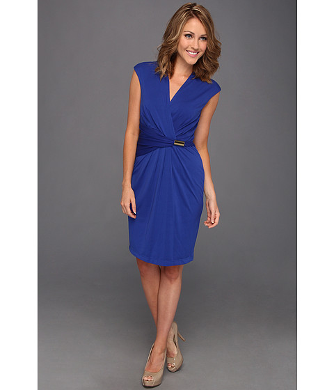 Rochii Ellen Tracy - Cap Sleeved Surplic Jersey Dress w/ Hardware - Cobalt
