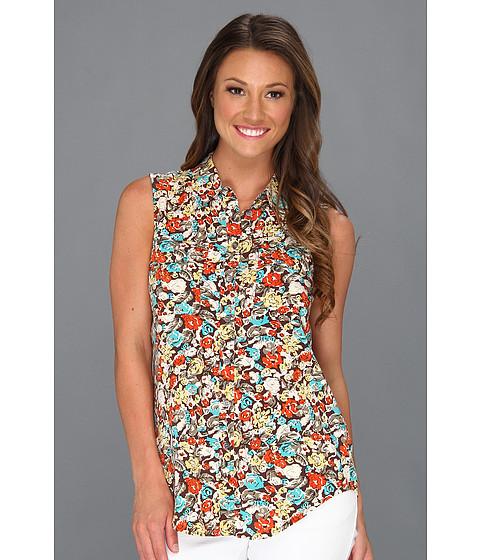 Bluze Vince Camuto - Sleeveless Monaco Floral Utility Shirt - French Roast