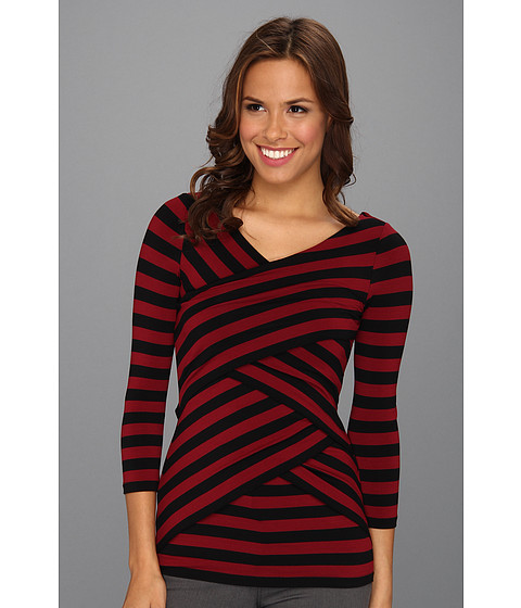 Bluze Vince Camuto - 3/4 Sleeve Stripe Tiered Top - Rhubarb