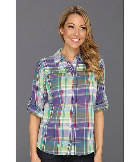 Camasi Caribbean Joe - Button Front Shirt w/Smocking - Skiff Purple