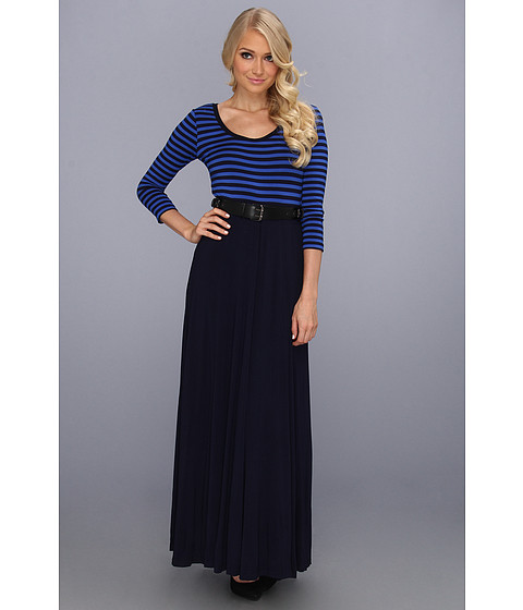 Rochii Calvin Klein - Rayon Maxi w/Stripe Top and Solid Skirt - Twilight/Electric Blue