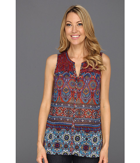Tricouri Jones New York - Smocked Button Front Sleeveless Shirt - Indian Red Multi