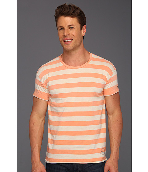 Tricouri Scotch & Soda - Sunfaded Stripe Crew Tee - Orange/White