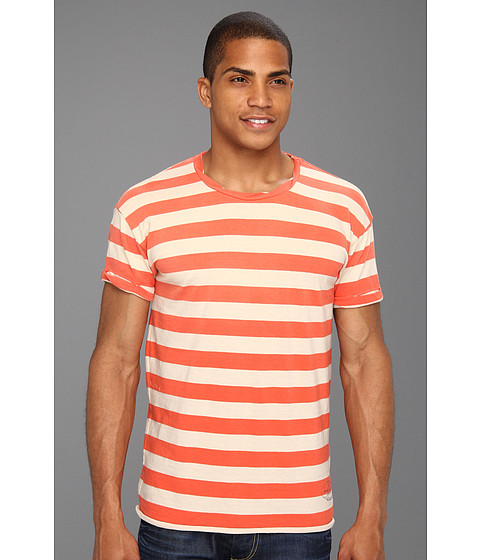 Tricouri Scotch & Soda - Sunfaded Stripe Crew Tee - Red/White