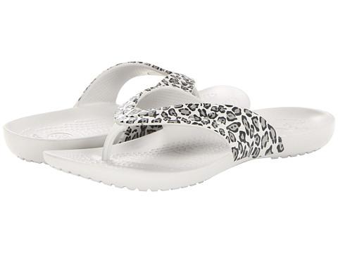 Sandale Crocs - Kadee Leopard Print Flip Flop - Black/Pearl White