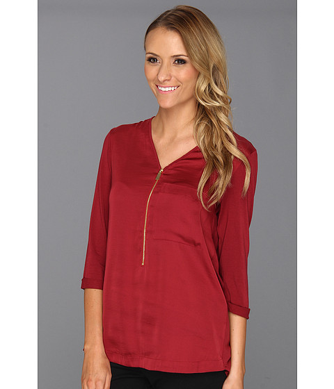 Bluze Vince Camuto - Knit Sleeve Half Zip Tunic - Rhubarb