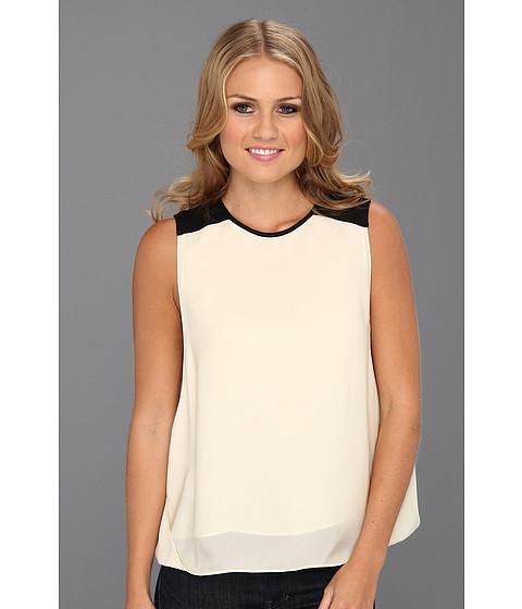 Bluze Halston Heritage - S/L Overlay Top with Colorblock Shoulder - Cream/Black