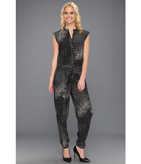 Pantaloni Halston Heritage - S/L V-Neck Jumpsuit - Black Oranic Dots Print