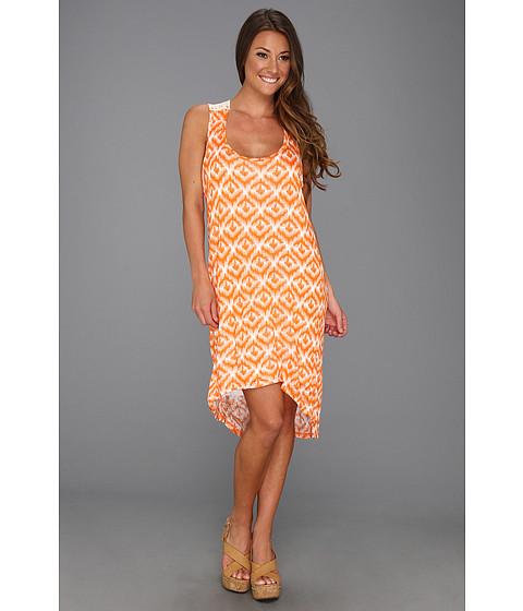 Rochii Michael Stars - Ikat Print Hi-Low Crochet Dress - Carrot