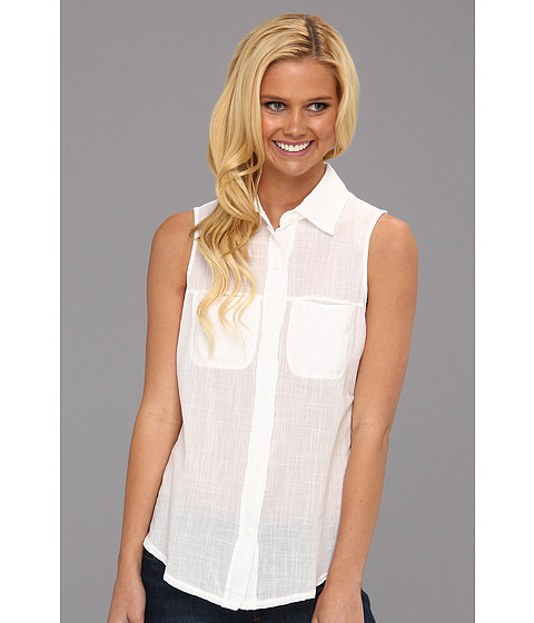 Bluze Michael Stars - Sleeveless Voile Button Up - White
