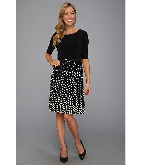 Rochii Jessica Howard - Three-Quarter Sleeve Belted Dress w/ Printed Skirt - Black/Ivory