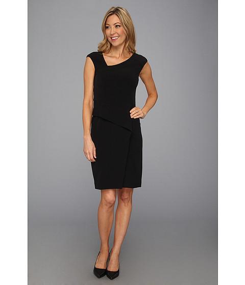 Rochii Nine West - Cap Sleeve Asymmetrical Neckline Sheath Dress - Black