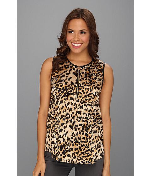 Bluze Vince Camuto - Pleather Trim Leopard Shell - Rich Black