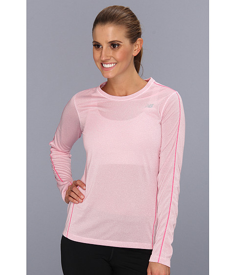 Bluze New Balance - Heather Long Sleeve Top - Pink Glo
