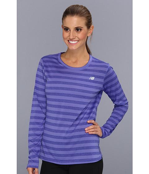 Bluze New Balance - Novelty Striped L/S Top - Azurite
