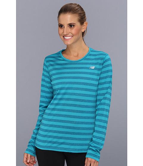 Bluze New Balance - Novelty Striped L/S Top - Capri Breeze