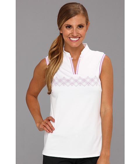 Bluze adidas - Climacoolî Argyle Sleeveless Mandarin Polo - White