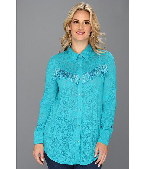 Camasi Roper - Plus Size 8674 Burnout Jersey Shirt - Blue