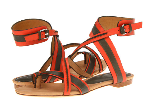 Sandale L.A.M.B. - Carissa - Olive/Red Leather