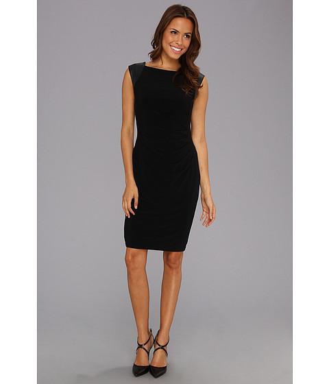 Rochii Anne Klein New York - Leather Sleeve Matte Jersey Pleated Sheath Dress - Black