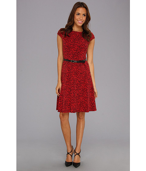 Rochii Anne Klein New York - Mini Leopard Jersey Swing Dress - Cardinal Combo
