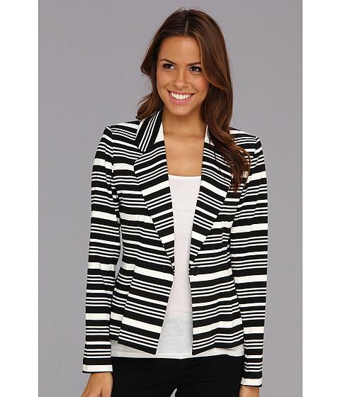 Sacouri Calvin Klein - Striped 1 Button Ponte Blazer - Eggshell/Black