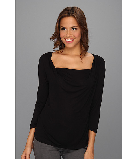 Bluze MICHAEL Michael Kors - 3/4 Sleeve Drape Neck T-shirt - Black 2