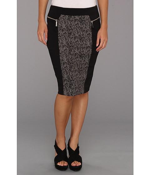 Fuste MICHAEL Michael Kors - Petite Zip Ponte Combo Skirt - Black