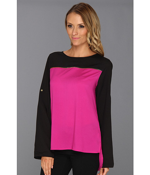 Tricouri Calvin Klein - Zip Color Block Roll Sleeve - Lotus