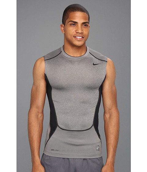 Tricouri Nike - Hypercool Compression Sleeveless Top 2.0 - Carbon Heather/Dark Steel Grey/Black/Black