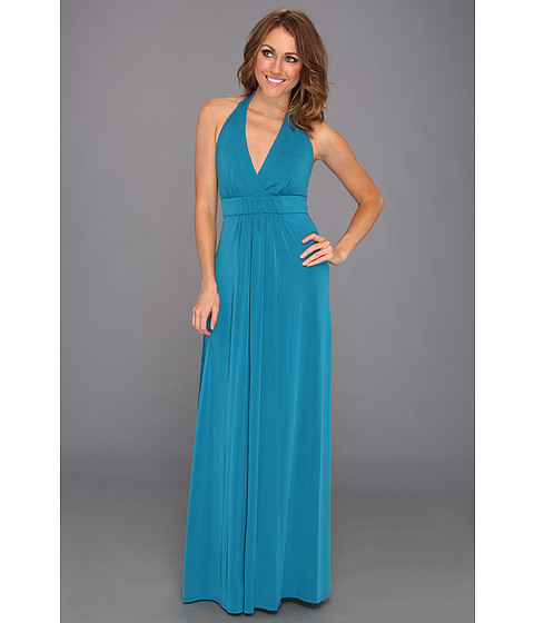 Rochii Jessica Simpson - Halter Maxi Dress w/ Elastic Gathered Front - Ocean