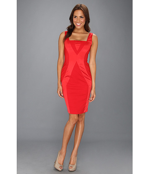 Rochii Vince Camuto - Bodycon Dress w/ Vertical Seaming Detail - Red