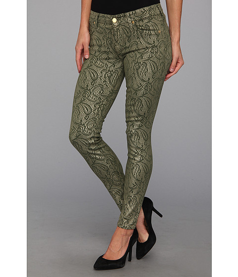 """Blugi 7 For All Mankind - The Skinny 29\"""" in Army Green w/ Almond Foil - Army Green w/ Almond Foil"""