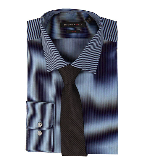Camasi John Varvatos - Regular Fit Fine Stripe Dress Shirt - Deep Blue
