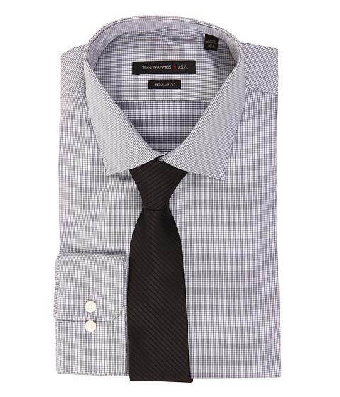 Camasi John Varvatos - Regular Fit Microcheck Stretch Dress Shirt - New Navy