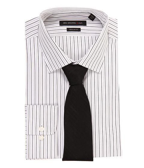 Camasi John Varvatos - Regular Fit Stripe Dress Shirt - Meteorite