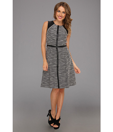 Rochii Calvin Klein - A-line Dress w/ Faux Leather Trim - Black/White