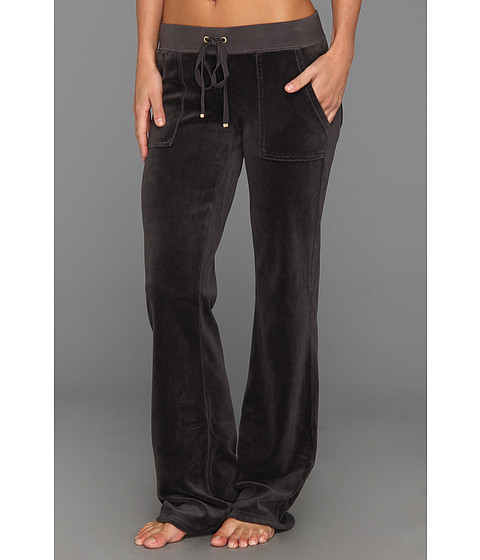 Pantaloni Juicy Couture - Original Velour Bootcut Pant w/ Snap Pocket - Top Hat