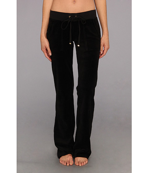 Pantaloni Juicy Couture - Original Velour Bootcut Pant w/ Snap Pocket - Black