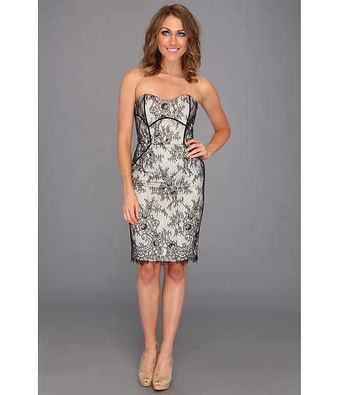 Rochii Badgley Mischka - Strapless Lace Dress - Black White