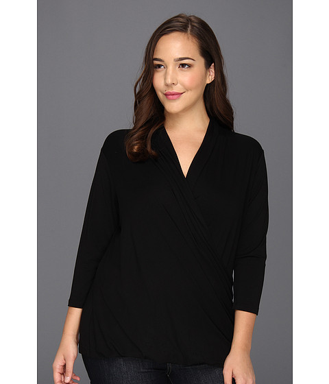 Bluze Vince Camuto - Plus Size 3/4 Sleeve High Wrap Top - Rich Black