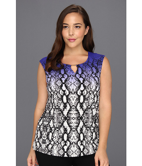 Bluze Calvin Klein - Plus Size Printed Extended Shoulder Top - Byzantine Multi Colored Snake