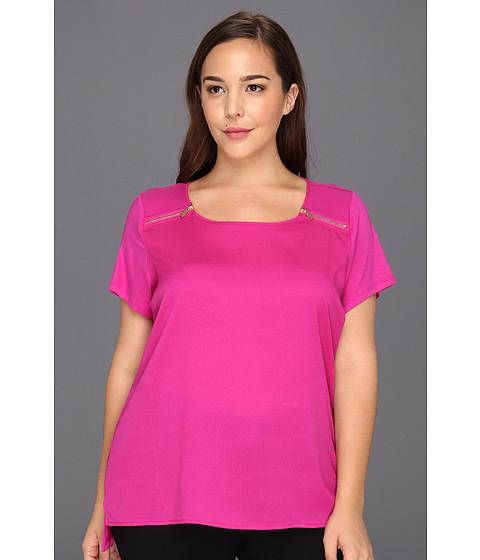 Tricouri Calvin Klein - Plus Size Printed MX Media Zip Tee - Lotus