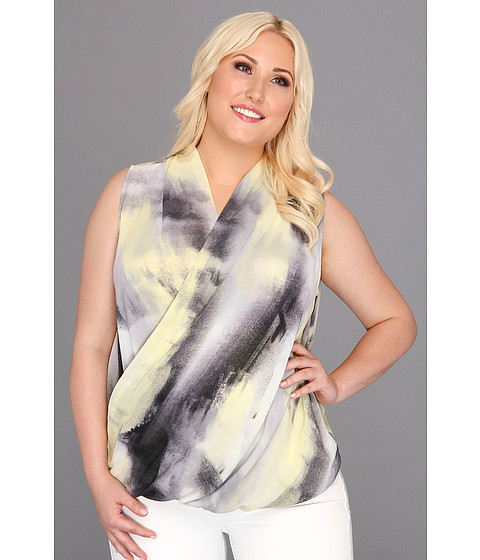Tricouri DKNY - Plus Size Paintbrush Print Wrap Front Blouse - Sunbeam